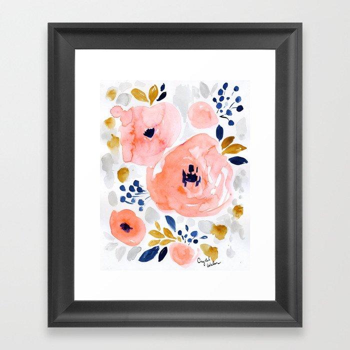 Genevieve Floral Gerahmter Kunstdruck