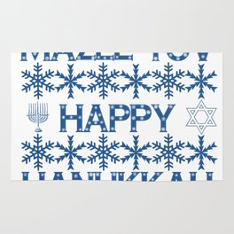 Happy Hanukkah Mazel Tov Wishes, Star of David, Menorah and Snowflakes Rug