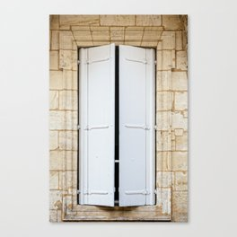 Old fashioned window with shutters Canvas Print