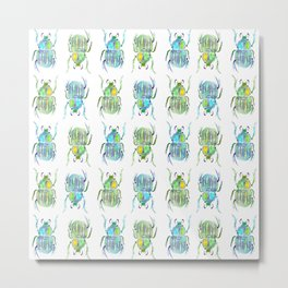 striped blue and yellow beetles pattern Metal Print