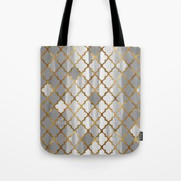 Moroccan Tile Pattern In Grey And Gold Tote Bag