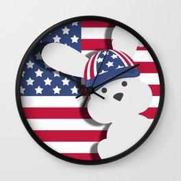 INDEPENDENCE DAY BUNNY Wall Clock
