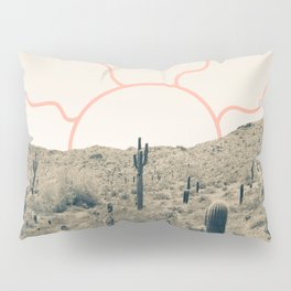 Wonder Rift // Abstract Vintage Mountains Summer Sun Surfer Beach Vibes Drawing Happy Wall Decor Pillow Sham