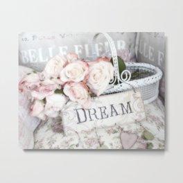 Shabby Chic Basket Dream Roses Metal Print