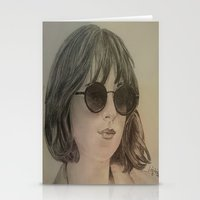 allyson johnson Stationery Cards featuring DAKOTA JOHNSON by Virginieferreux