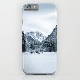 Mountains and frozen lake Zgornje Jezersko iPhone Case