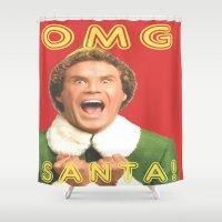 will ferrell Shower Curtains featuring OMG SANTA! / Elf by Earl of Grey