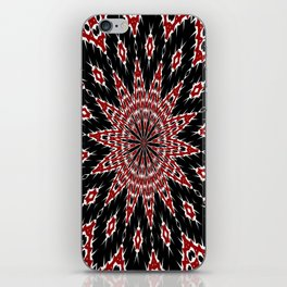 Black Red and White Bold Floral Kaleidoscope iPhone Skin