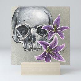 Skull with purple lily Mini Art Print