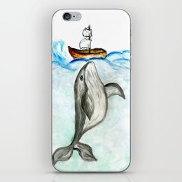 Cute whale and boat watercolor iPhone Skin