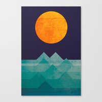 geometric Canvas Prints featuring The ocean, the sea, the wave - night scene by Picomodi