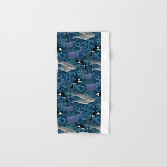 Beautiful Ocean Giants - teal Hand & Bath Towel