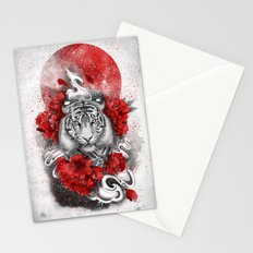 White tiger, red sun Stationery Cards