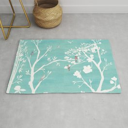 Chinoiserie Panels 1-2 White Scene on Teal Raw Silk - Casart Scenoiserie Collection Rug