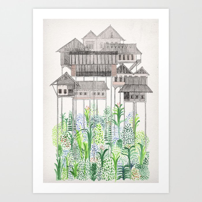 Sunday's Society6 | Houses on stilts art print
