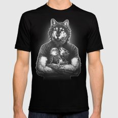 Four Wolf Moon Black Mens Fitted Tee LARGE