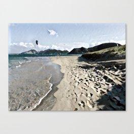Kite over the beach Canvas Print