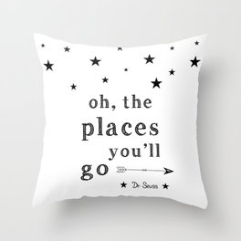 Oh the places you'll go - Dr Seuss Throw Pillow