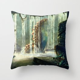 Water Nymph Hunt Throw Pillow