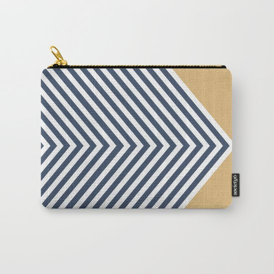 Gold & Navy Chevron Carry-All Pouch