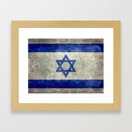National flag of the State of Israel with distressed worn patina Framed Art Print