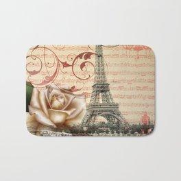vintage chandelier white rose music notes Paris eiffel tower Bath Mat