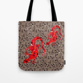 Red Lizard Collage Tote Bag