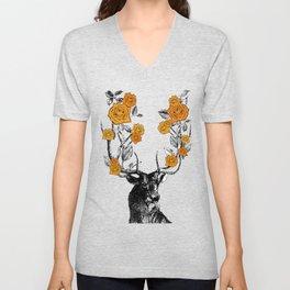The Stag and Roses | Deer and Flowers | Orange | Vintage Stag | Vintage Deer | Antlers | Woodland | Unisex V-Neck