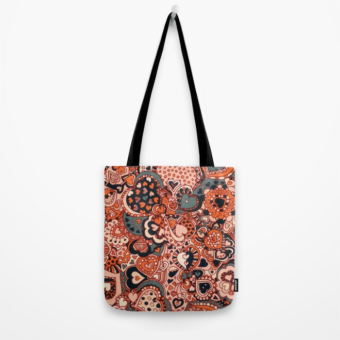 Doodle hearts Tote Bag