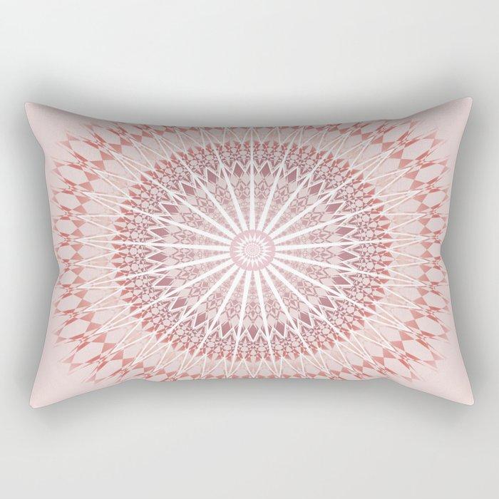 Red Brown White Mandala Rectangular Pillow