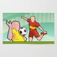 soccer Area & Throw Rugs featuring Soccer game by Caetanorama Art Studio