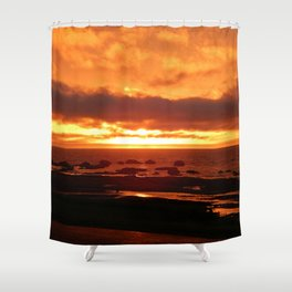 Skies of Fury at Sunset Shower Curtain