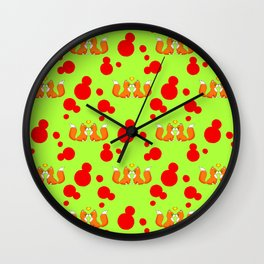 Cute lovely little foxes in love and bold red retro dots seamless pattern design. Hello November. Wall Clock