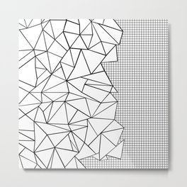 Abstraction Outline Grid on Side White Metal Print