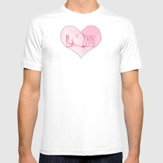 Love's Heart - Pink White MEDIUM Mens Fitted Tee