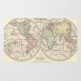 Vintage Map of The World (1856) Rug