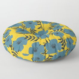 Blue Flowers with Banana Leaves with Yellow Floor Pillow