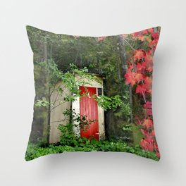 The Red Outhouse Door Throw Pillow