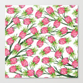 Summer tropical pink green watercolor pineapple floral Canvas Print