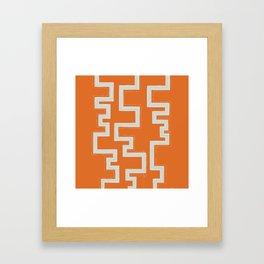 Meandering Lines - Orange Framed Art Print