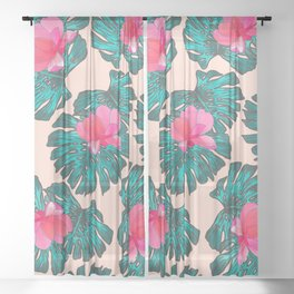 Artsy Tropical Green Teal Monster Leaves Pink Floral Sheer Curtain