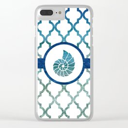 Seashell: Tropical Water Moroccan Pattern Clear iPhone Case