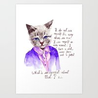 karl lagerfeld Art Prints featuring Fashion Mr. Cat Karl Lagerfeld and Chanel by Smog