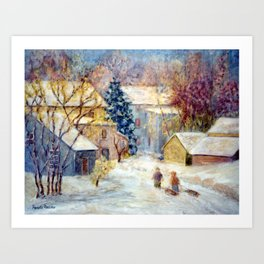 Snow Day, a winter impressionist oil painting of children heading out to sled. Holiday gift and card Art Print