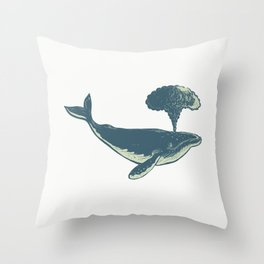 Humpback Whale Blowing Water Scratchboard Throw Pillow