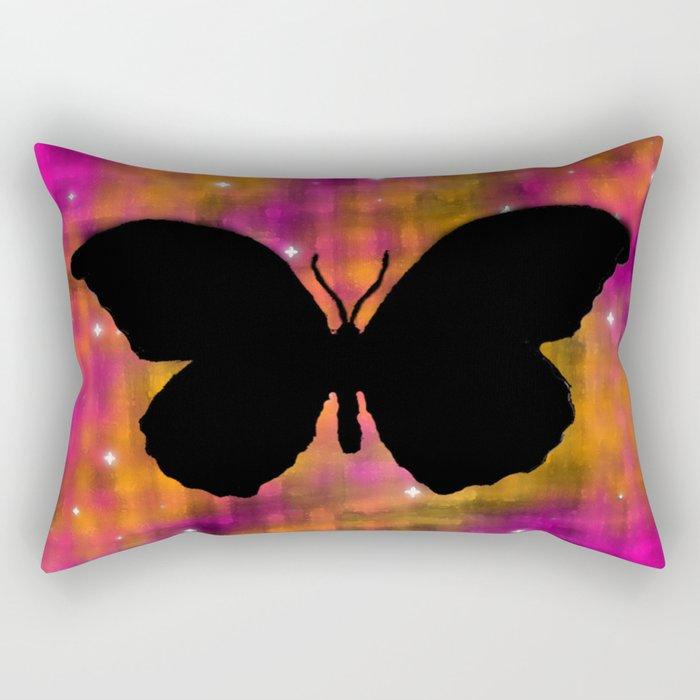 Butterfly Galaxy Watercolor Rectangular Pillow