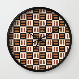 Geometric African Kuba Cloth Wall Clock