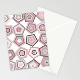 Balancing Pentagons in Pink & Grey Stationery Cards
