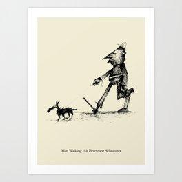 Man Walking His Bratwurst Schnauzer Art Print