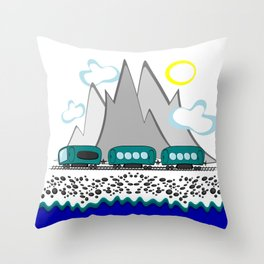 Train travel along the sea and mountains Throw Pillow